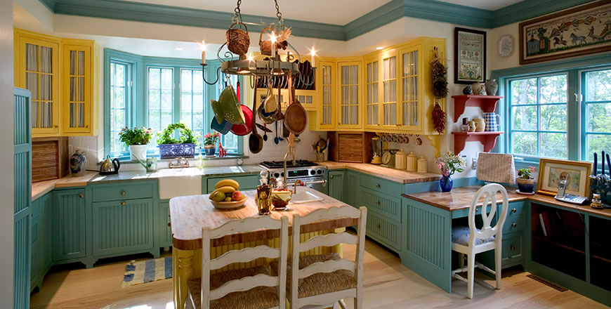 A colorful kitchen in Swedish style. Boone, North Carolina, USA